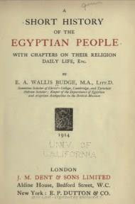 A Short History of the Egyptian People By E. A. Wallis Budge