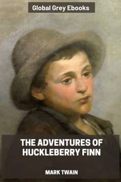 cover page for the Global Grey edition of Adventures of Huckleberry Finn by Mark Twain