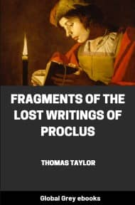 cover page for the Global Grey edition of Fragments of the Lost Writings of Proclus by Thomas Taylor