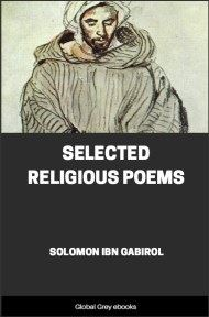 cover page for the Global Grey edition of Selected Religious Poems by Solomon Ibn Gabirol